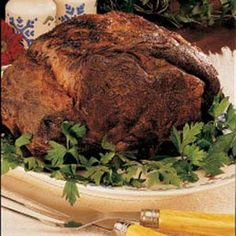 No-Fuss Beef Roast Recipe -For Christmas dinner or other special occasions, this beef rib roast makes an elegant entree. I just coat the beef with a dry rub to spark the flavor, then stick it in the oven. It comes out perfect every time!