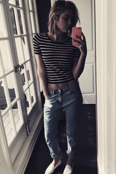 Ashley Benson wearing Yosi Samra Preslie Perforated Smoking Slippers, Brandy Melville Hana Top and Rag & Bone the Marilyn Jeans in Huntington