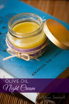 Homemade Olive Oil Night Cream- made from 100% natural ingredients, this comes together in minutes and saves you money! #skincare #nightcrea...