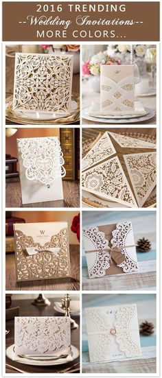 """2016 trending laser cut wedding invitations with more colors like navy blue, blush, black... USE COUPON CODE """"PRO"""" TO GET 15% OFF"""