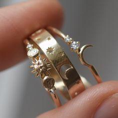 Moon Jewelry, Cute Jewelry, Jewelry Rings, Silver Jewelry, Jewelry Accessories, Jewelry Shop, Custom Gold Jewelry, Star Jewelry, Cheap Jewelry