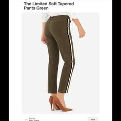 The Limited tapered olive green pants Ankle length with black and white stripe on the side, very soft and comfy, pics from the limited.com The Limited Pants Ankle & Cropped