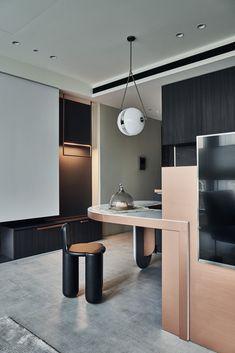 A Compact Taipei Apartment Full of Curvy Details - Design Milk Loft, Interior Design Kitchen, Kitchen Decor, Color Style, Das Hotel, Home Kitchens, Interior Architecture, Home Decor, Dining Room