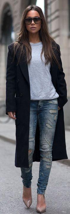 Black Long Line Coat