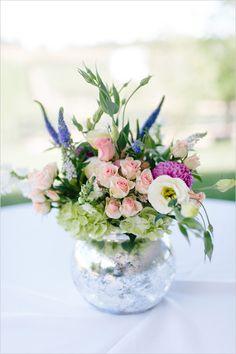 mercury vase floral arrangement