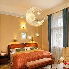 Goeco Moon Stars Creative Modern Chandelier with 5 G4 Warm White Bulbs Brief Pendant Lighting for Girls Room,Balcony,Bedroom,110V