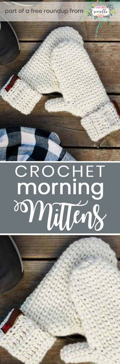 Get the free crochet pattern for these faux knit crochet morning mittens from Make & Do Crew featured in my crochet that looks knit FREE pattern roundup!