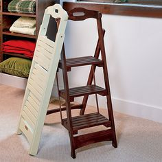 Splendid Wooden Chair Step Stool Combination With Folding