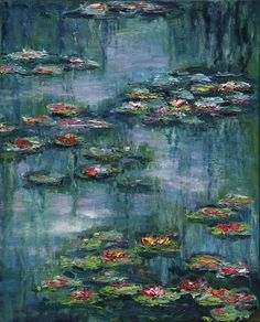 Water Lily Pond III by #JaneSeymour  Available at Art Evolution http://www.artevolution.com/water-lily-pond-iii-right-ap-jane-seymour.html  #Art  Shop the entire #JaneSeymour collection here: w.artevolution.com/shop/jane-seymour.html