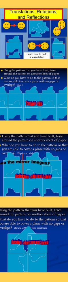 Need an integrated approach with geometry and art? Click on the link to find a fun way to use transformations and create tessellations which can then be creatively turned into pieces of art.