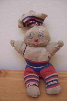 "VINTAGE HANDMADE SOCK RAG DOLL 6"" TALL EMBROIDERED EYES 1930'S - 1940'S"