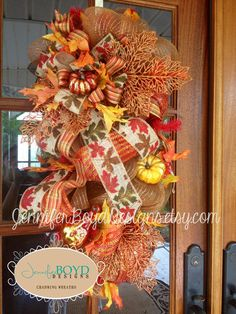 Fall Deco Mesh Door Swag/Wreath in Rich by JenniferBoydDesigns, $100.00