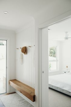 A coastal Entry Nook designed with Custom Timber hooks and VJ Wall Panelling. Entry Nook, Timber Feature Wall, Timber Panelling, White Wall Paneling, Wall Panelling, House Entrance, Home Fashion, My Dream Home, Decoration