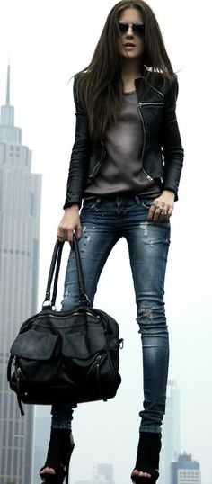 1. Grey cotton t-shirt + skinnies + gold chunky necklace + black leather jacket + black/gold booties