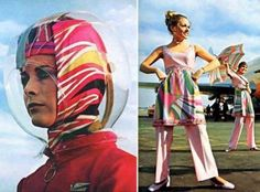 Space Age Helmet designed by Emilio Pucci for Braniff Airlines,1965. Very unique, colourful, this is definitely my favourite look of the decade. Due to the 1st launch to the moon in 1960, the event was inspired many designer, included Emilio Pucci