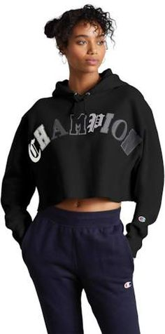 Champion Old English Crop Hoodie - Black (っ◔◡◔)っ ♥ Follow on Pinterest for cute style inspo @katesstylediary ♥ Cropped Hoodie, Black Hoodie, Old English, Hoodies, Sweatshirts, Champion, Cute, Sweaters, How To Wear