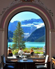 Lake Louise at Banff National Park, Alberta, Canada as seen from Fairmont Chateau Lake Louise ~Resort Hotel