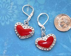 Red HEART Silver Plated LEVER BACK Earrings OPTIONS: Color #BusyBeeBumbleBeads #DropDangle