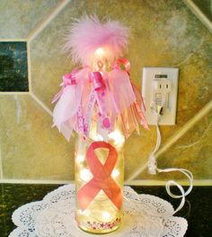Breast cancer awareness bottle I made.