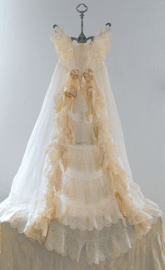 Absolutely Fabulous French Antique Christening Gown with Magnificent Embroidery in Champagne with Silk Ribbons.