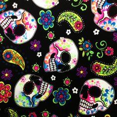 1b3623950bd Stretch Fabric - NEON UV Glow Sugar Skulls Print , Four way Stretch Spandex  Fabric, -Item# PCBTP070C1