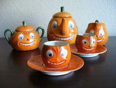 ANT VTG German Childs Halloween Toy Tea Set Jack-o-Lantern Pumpkin - RARE!! | eBay
