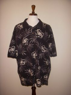 Breakwater Black White Ivory Floral Hibiscus Hawaiian Golf Polo Shirt XXL 2XL