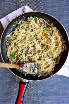 Creamy Mushroom Pasta with onion and goat cheese. This is a super yummy vegetarian dish. You'll crave for it even if you are not hungry. Yes,it's that good!