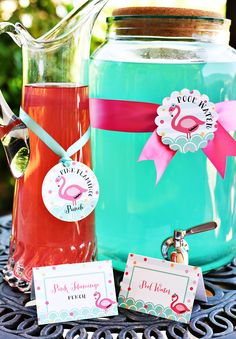 Flamingo Pool Party Drinks from Pink Flamingo Pool Party at Kara's Party Ideas.Drinks from Pink Flamingo Pool Party at Kara's Party Ideas. Pink Flamingo Party, Flamingo Baby Shower, Flamingo Pool, Flamingo Birthday, Pink Flamingos, Hawaian Party, Luau Party, Pool Party Themes, Fiesta Party