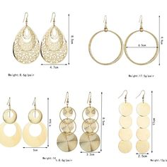 New exaggerated metal big circle atmospheric disc multi-level fashion retro round boho style hollow ladies earrings Earring Hole, Earring Backs, Earring Set, Jade Earrings, Gold Hoop Earrings, Drop Earrings, Body Jewelry Shop, Body Chain Jewelry, Earring Trends