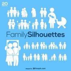 Silhuetas Family Pack vector Vetor grátis                                                                                                                                                                                 Mais