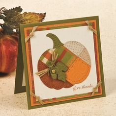 handmade Thanksgiving card ... Patchwork Pumpkin .. fall colors ... pierced outlines ... luv it!!