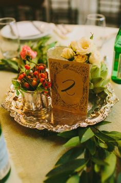 Wedding Centerpieces - Little posy bunches on a silver tray. So pretty. On http://www.StyleMePretty.com/2014/03/24/cozy-and-romantic-fredericksburg-tx-brunch-wedding/ Photography: Amber Vickery Photography - www.ambervickeryphotography.com on #SMP
