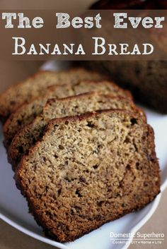 The Best EVER Banana Bread Recipe. Double recipe, brown butter, 1 extra egg, 3/4 tsp cinnamon, dash nutmeg, 2/3 c sugar, 2/3 c brown sugar, 1 tbsp vanilla. Other measurements stay the same.