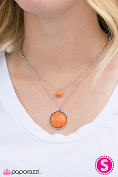 Sands Stone Skies Orange Necklace Only $5