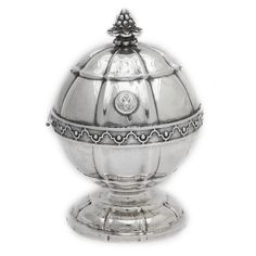 Grand Duchess Maria Nikolaevna Silver Soap Dish. Covered circular silver soap dish with the monogram of Grand Duchess Maria Nikolaevna, eldest daughter of Nicholas I, on one side, and the Russian Imperial Eagle on the other. Set with a pine cone finial and with a gilded silver interior.By the Russian Imperial court silversmiths, Nicholls & Plincke. St Petersburg, 1839