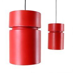 Pair of red metal pendant lights, 1960s
