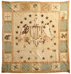 """Appliqué eagle medallion quilt (87"""" x 83"""") with 28 stars. Colors predominantly brown, blues, pinks on cream. Label on back, bottom right: """"Aunt Maggie gave this 1918 over 100 years old."""" #quilt"""