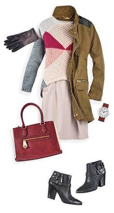 Las prendas en nude y palo de rosa se complementan perfecto con una parka verde. Dale un toque de color con un suéter tejido con un print y una bolsa vino.