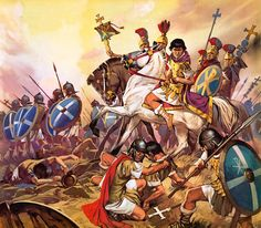 Constantine I leads his troops to victory at the Milvian Bridge. Arguably Constantine's victory, and his subsequent transfer of the imperial capital to Byzantium, and his embrace of the Eastern religion of Christianity , was a major milestone on the road to the collapse of the Roman Empire in the West.