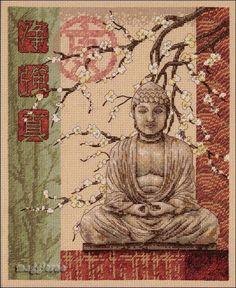 Borduurpatroon Allerlei & Vanalles Kruissteek *Cross Stitch Pattern ~Buddha met Bloesem 1/4~