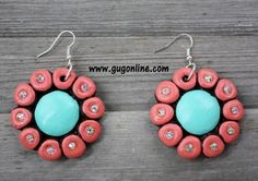 El Sol Coral and Mint Clay Earrings