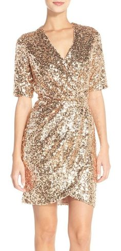 sequin mesh faux wrap dress by French Connection. A dazzling array of light-catching sequins defines a slinky cocktail dress that sweeps to the side in a universally flattering faux-wrap silhouette. Style Name: French Connection Sequin Mesh Faux Wrap Dress. Style Number: 5065131. Availa... #frenchconnection #dresses
