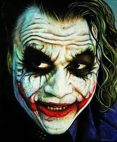 Heath Ledger as Joker Acrylics on paper art Joker Make-up, Joker Heath, Joker And Harley Quinn, Heath Ledger Joker Makeup, Joker Ledger, Joker Iphone Wallpaper, Joker Wallpapers, Hd Wallpaper, Joker Painting