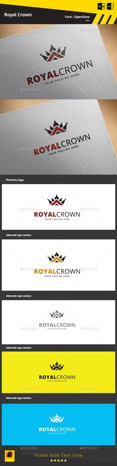Royal Crown  - Logo Design Template Vector #logotype Download it here: http://graphicriver.net/item/royal-crown-logo-template/9469503?s_rank=1787?ref=nesto