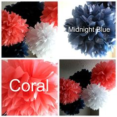 100 wedding pom pomsCoral and Navy Themed by simplynesting on Etsy, $300.00