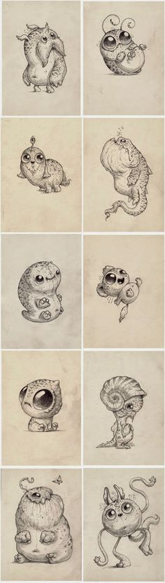 Cute monsters with big eyes Cute Monsters, Little Monsters, Cute Creatures, Fantasy Creatures, Monster Drawing, Art Graphique, Creature Design, Cute Drawings, Cute Art