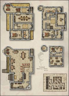 The Sublime's Trollskull Manor & Taphouse Fantasy City Map, Fantasy Castle, Fantasy House, Pathfinder Maps, Pen & Paper, Building Map, Rpg Map, Map Layout, Dungeons And Dragons Homebrew