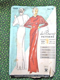 1930s gown sewing pattern by DuBarry 1060B     Bust by Fancywork, $98.00