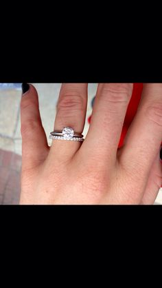 White gold engagement ring and wedding band